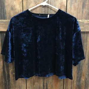 Urban Outfitters Navy Blue Velvet Crop Top
